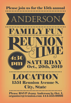 Family reunion invitation design. Unique, vintage lettering used. Creative design to announce the family event.