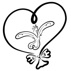 Balloon in the shape of a heart with a picture of a flying bird and a bow