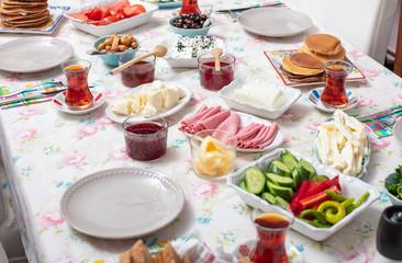 Breakfast - Traditional Turkish breakfast..
