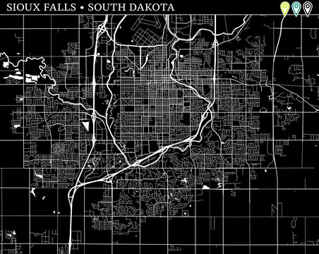 Simple map of Sioux Falls, South Dakota