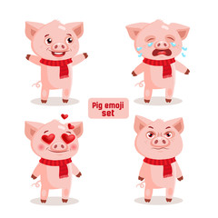 Cute Cartoon Pig Emotions, Happy, Angry, Crying And Love. Cute Animal Emoji Vector Set Isolated On White Background. Emoji Pig Character Icon Set With Different Emotions.