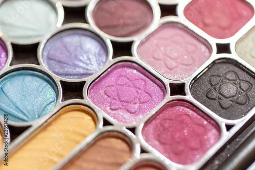Backgrounds of Cosmetic makeup set on table, Makeup artist applies woman face Beautiful.