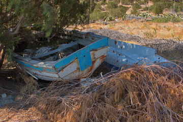 Abandoned boat at Vananda Bay near Diafani on Karpathos in Greece