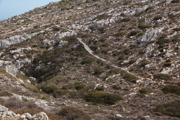 Landscape at the trail from Awlona to Diafani on Karpathos in Greece