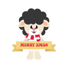cartoon cute sheep black with scarf and christmas sign