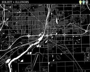 Simple map of Joliet, Illinois