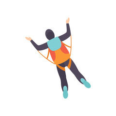 Skydiver skydiving in the sky, parachuting extreme sport, top view vector Illustration on a white background