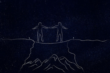 team of 2 people walking on tightrope holding hands with mountains in the distance