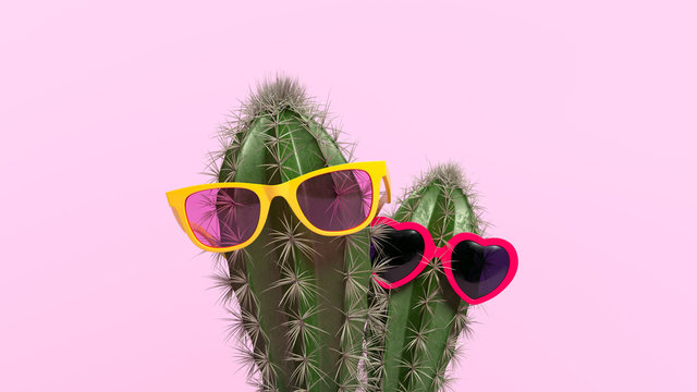 Creative concept of cactus with glasses in flower pot. 3d illustration.
