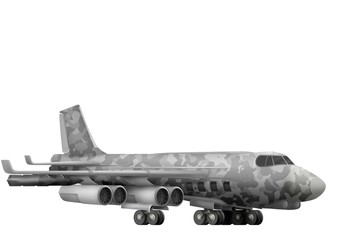 bomber with city camouflage with fictional design - isolated object on white background. 3d illustration