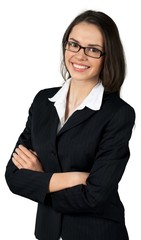 Friendly Young Businesswoman Standing with Arms Folded -