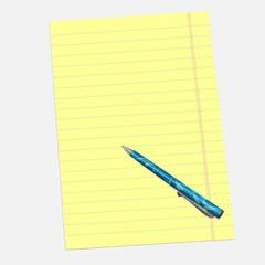 Ballpoint pen or gel pen with paper