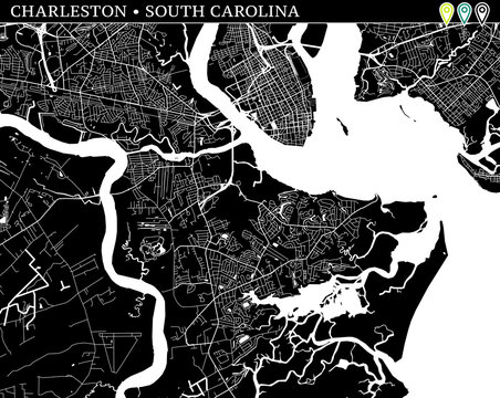 Simple map of Charleston, South Carolina