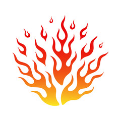 Cartoon fire flame flammable emblem. Bright flames of fire in hot blaze bonfire in yellow, orange and red colors isolated on white background. Vector illustration for emergency sign or burning tattoo.