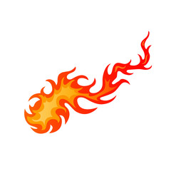 Burning hot comet cartoon sign. Bright fire flame in blazing inferno fireball in red and orange color isolated on white background. Vector illustration fire flame for burning tattoo or decal