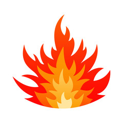 Cartoon fire flame safety sign concept. Gas explosion danger design with burning bonfire flames in orange, yellow and red colors isolated on white background. Vector illustration for hell heat emblem