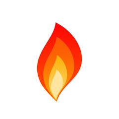 Isolated flat flare flames vector illustration. Hot blaze bonfire with red, orange and yellow fire flame layers isolated on white background for flammable danger sign or burning gas energy logo