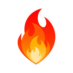 Burning fire flame safety sign concept. Gas explosion danger design with burning flames in orange, yellow and red colors isolated on white background. Vector illustration for flammable emblem