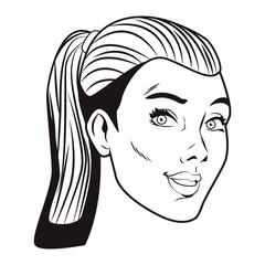 Pop art woman cartoon