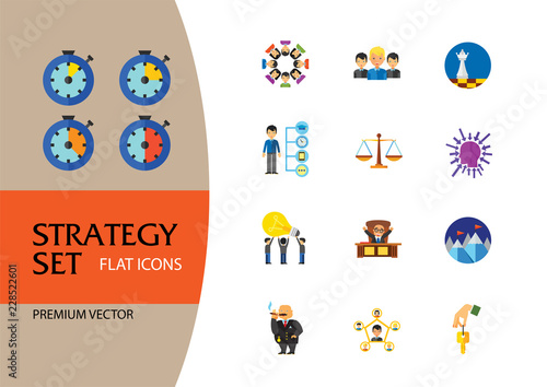 Strategy Icon Set  Team Structure Common Idea Director