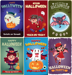 Vintage Halloween poster design with vector vampire, witch, bat, ghost, demon, Jack O Lantern, spider, monster character.