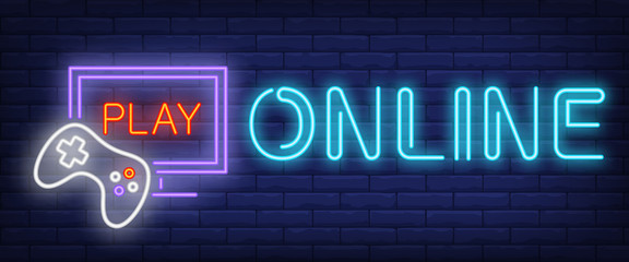 Online, play neon text with game console and monitor. Videogames and entertainment advertisement design. Night bright neon sign, colorful billboard, light banner. Vector illustration in neon style.