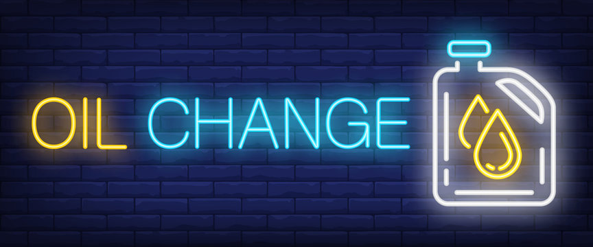 Oil change neon text with canister. Car service advertisement design. Night bright neon sign, colorful billboard, light banner. Vector illustration in neon style.
