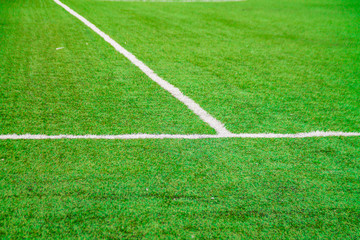 bright green football soccer field with marking for sport games