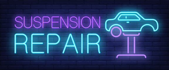 Suspension repair neon text with car on auto lift. Car service and repair advertisement design. Night bright neon sign, colorful billboard, light banner. Vector illustration in neon style.