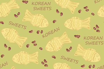 ПечатьKorean sweets. Korean food. Fried pies in the form of fish. Tasty food. Red beans. Pie with sweet bean paste.