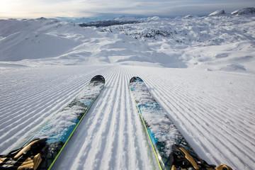 Beautiful winter panorama with ski slope.