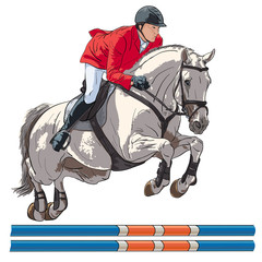 Equestrian, show jumping. An illustration of a rider and horse jumping over an obstacle.