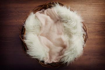 Newborn nest against an oak floor, with fluffy textures