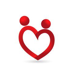 Logo love heart symbol couple in love concept