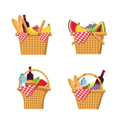 set basket with food and tablecloth decoration