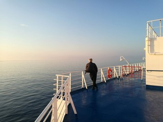 A man on the ferryboat