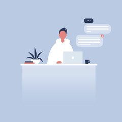 Office life. Young character sitting at the desk. Laptop. Pop up windows. Messenger. Flat editable vector illustration, clip art. Millennials at work.