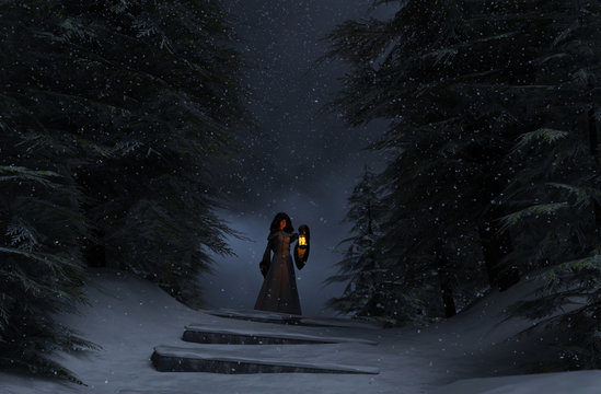 Winter's forest story,Young woman in hooded cloak with lantern in winter forest,3d illustration