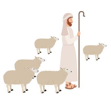 Shepherd with sheeps manger character