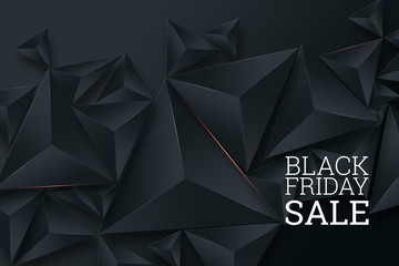Black Friday sale poster. Commercial discount event banner. Black background. Banner, card, copy space. Mockup, layout. Creative background