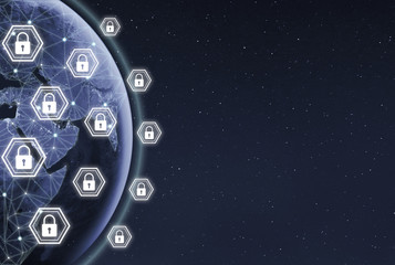 Blockchain technology and decentralized telecommunication background. Locks and padlocks on Earth planet background.GDRP and cybersecurity concept. Dots and connection lines on globe map.