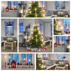 Skandinavisches, nordisches Wohnzimmer mit einem Sofa, Kaminofen, Weihnachtsbaum und weihnachtlicher Deko - Collage - Set