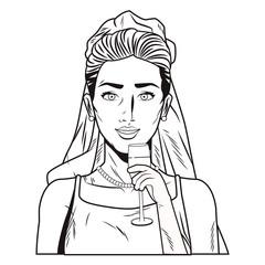Pop art bride profile cartoon