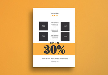 Sale Flyer Layout with Yellow Accents