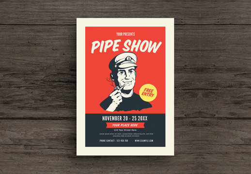 Flyer Layout with Man Smoking Pipe Illustration