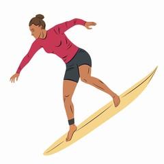 illustration of surfer woman, vector draw
