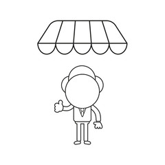 Vector illustration of businessman character giving thumbs-up under shop store awning. Black outline.