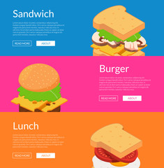 Vector isometric burger ingredients web banner templates illustration. Set of colored poster