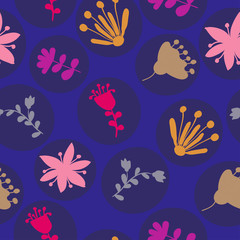 dark blue circles with colorful floral ornaments