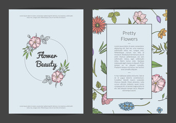 Vector hand drawn flowers card or flyer template of set isolated illustration